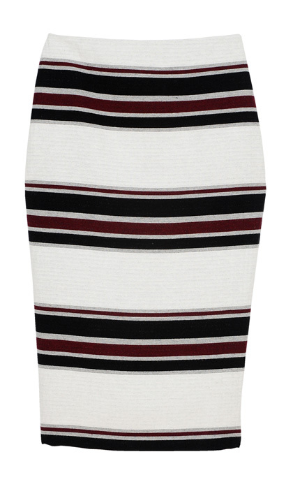 <strong>Striped High-Waisted Midi Pencil Skirt</strong>, $60,