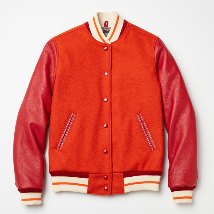 <strong>Roots Orange Leather and Wool Sorority Jacket</strong>, $358,