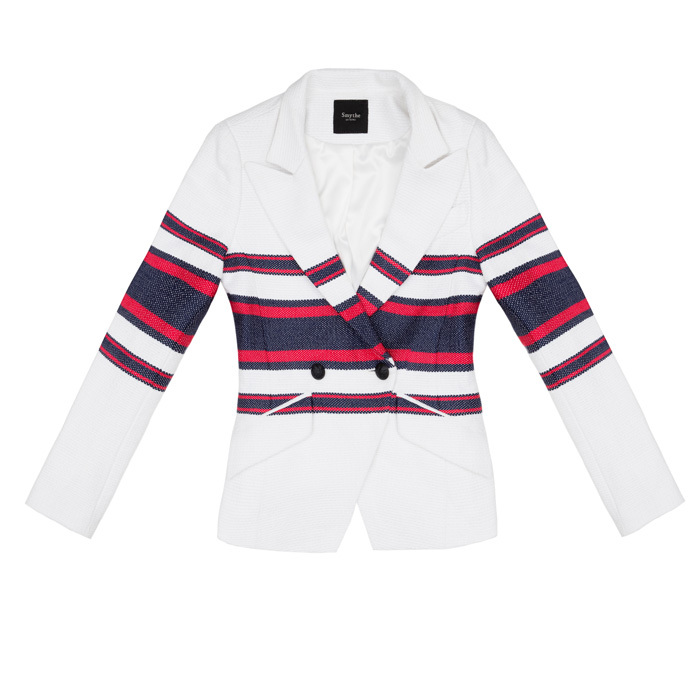 <strong>Smythe Red and Navy Stripe Tennis Blazer</strong>, $895, 