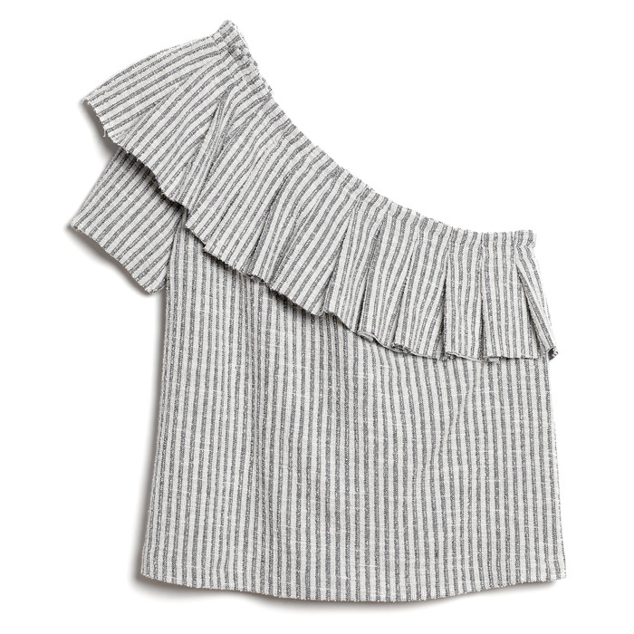 <strong>One Shouldered Ruffled Cotton Top</strong>, $99,