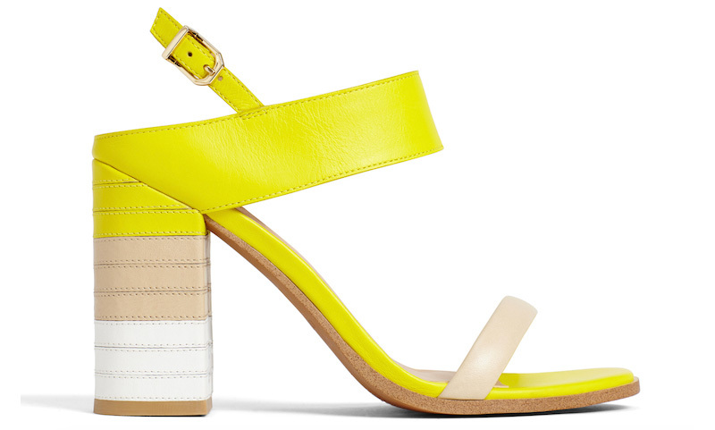 <strong>Leather Sandal with Block Heel and Ankle Strap</strong>, $90,