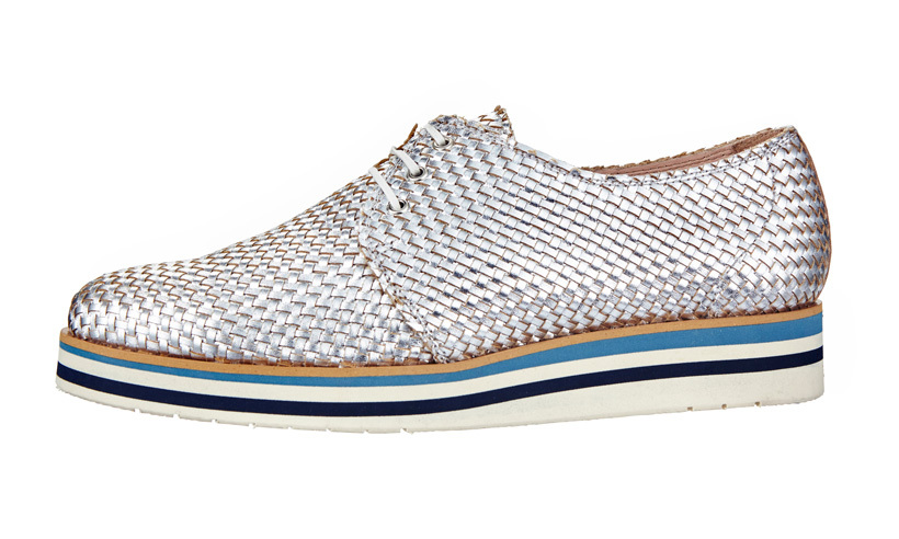 <strong>Metallic Woven Leather Brogues</strong>, $130,