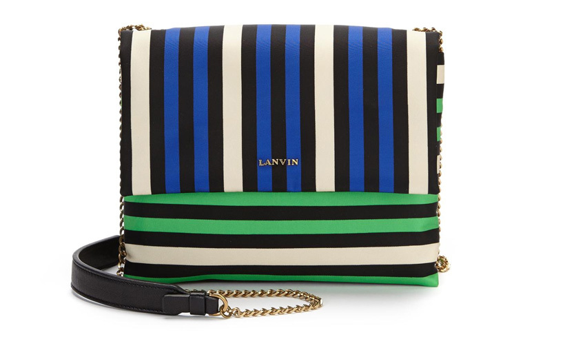 <strong>Lanvin Sugar Mini Striped Nylon Crossbody Bag</strong>, $1,560,