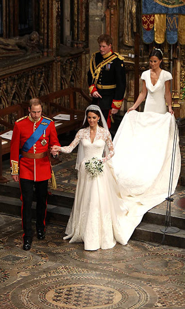 Harry continued his supporting role next to bride Kate's sister Pippa on his older brother's wedding day.