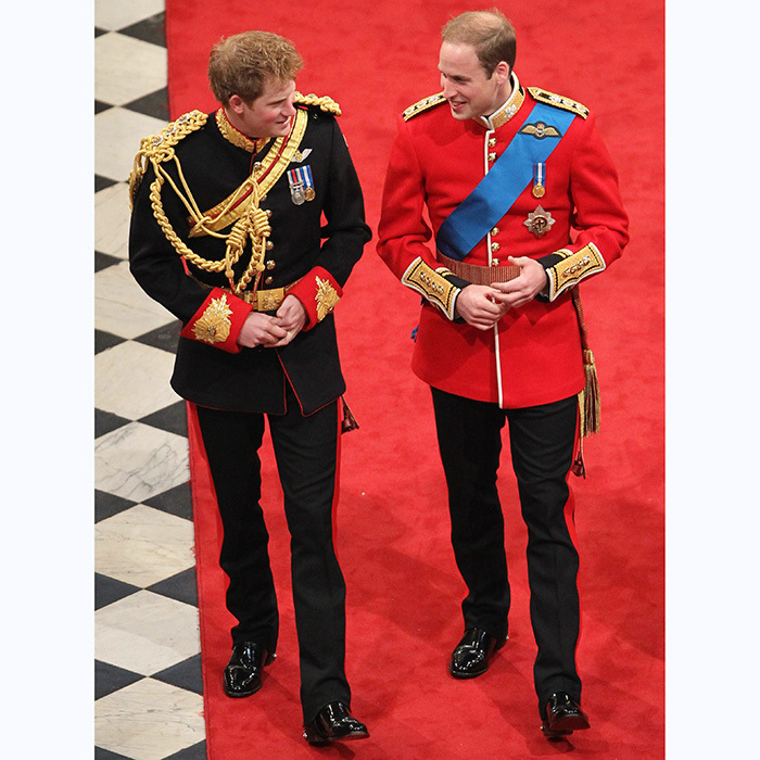 Prince Harry walks nervous groom Prince William to the altar on his 2011 wedding day.
