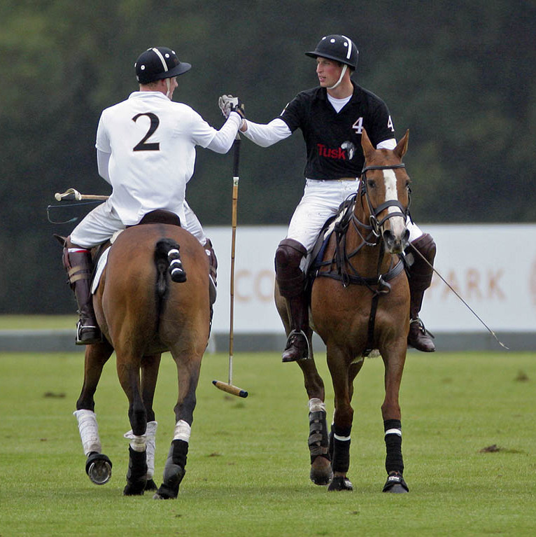 Friendly competition! William and Harry proved that their is still love between them with a friendly handshake after competing against each other in the Sentebale Polo Cup polo match at Coworth Park.