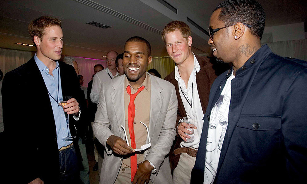 Time to party! William and Harry showed their appreciation for Kanye West and P. Diddy after the two rappers performed during the <em>Concert for Diana</em>