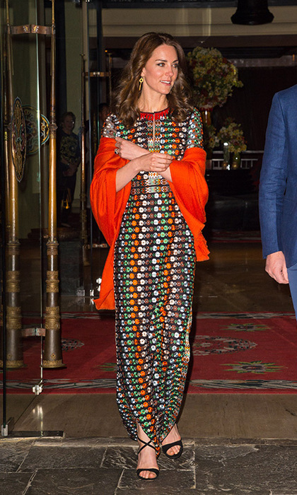 The Duchess wore a Tory Burch dress for the private dinner with the king and queen.