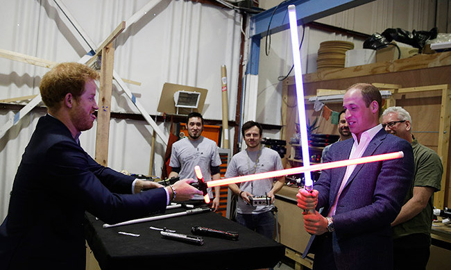 "The duelling brothers had some fun while visiting the set of <i>Star Wars</i> in England. ""Why do I always have to be the baddy?"" joked Prince Harry when his lightsaber turned red.