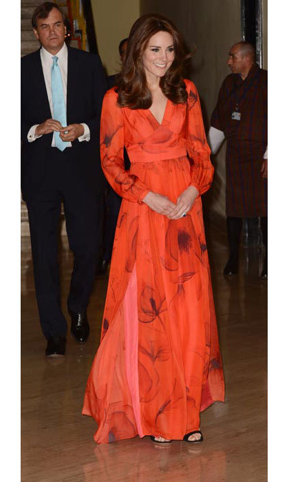 Kate paid tribute to Bhutan by wearing a poppy-printed Beulah dress; the poppy is Bhutan's national flower.