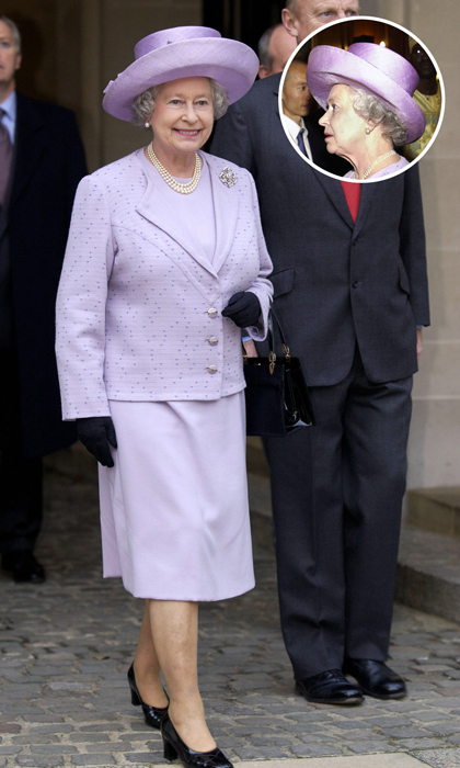 Although she regularly commissions new hat designs, royal milliner Philip Somerville has noted that she often chooses to rewear her favourite hats - sometimes 20 to 30 times. Wide-brimmed hats, like this purple topper, are her favourite choice. 