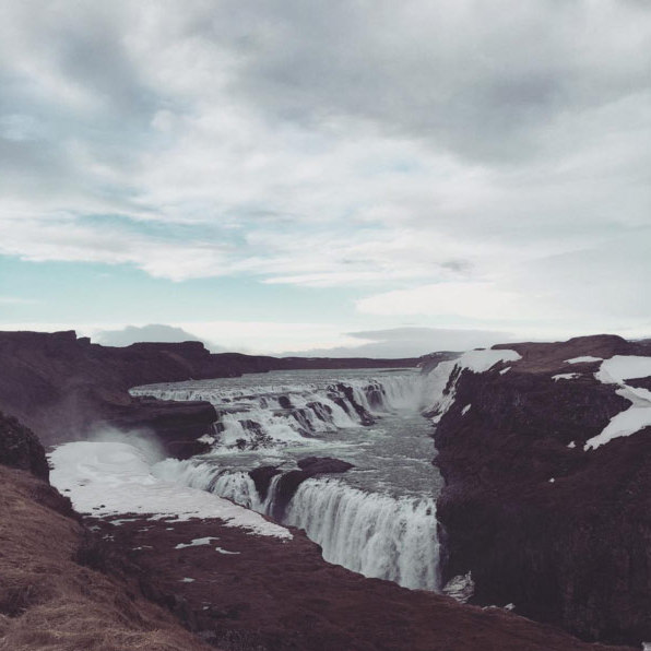 Kim also shared a photo from their excursion to one of Iceland's stunning waterfalls.