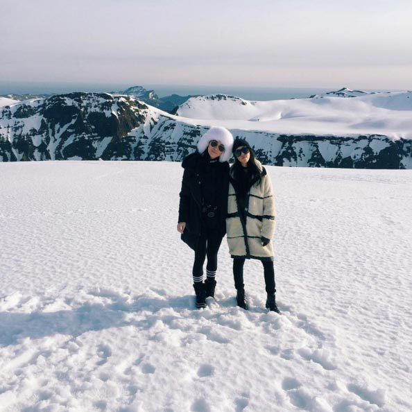 """Who celebrates their bday on a glacier? @kourtneykardash you win ☃,"" Kim's assistant Steph Sheppard captioned this image of herself and Kourtney.