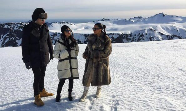 """Do you want to build a snowman?"" Kourtney joked, sharing a photo of herself and Kim in the snow.