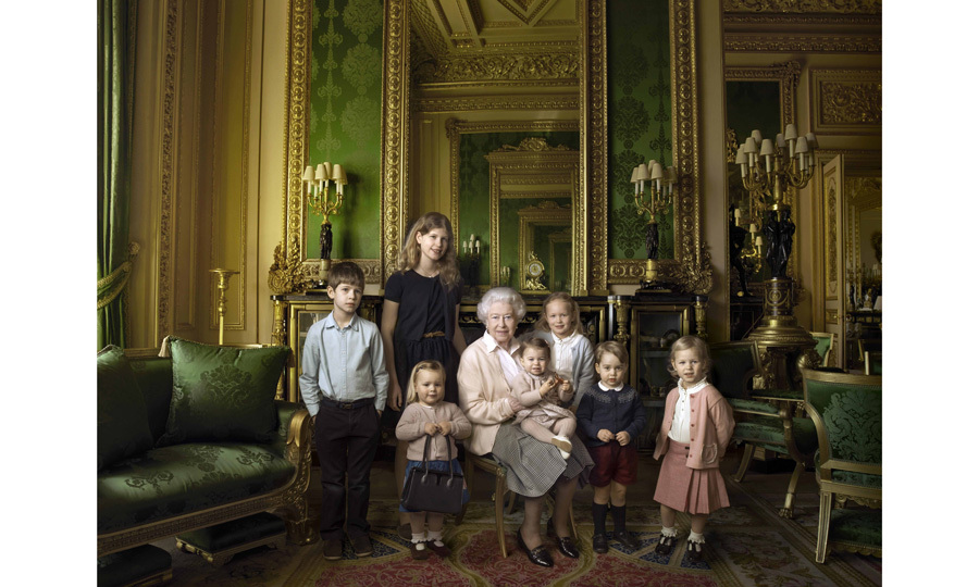 The Queen with her five great-grandchildren and her two youngest grandchildren. The photograph was taken in the Green Drawing Room, part of the Castle's semi-State apartments.