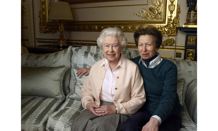 The Queen with daughter Princess Anne in the White Drawing Room at Windsor Castle.