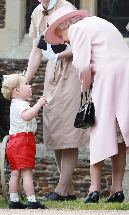 Prince George was pictures talking to his 'Gan-Gan' the Queen.