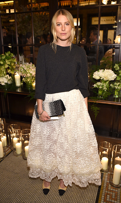 Dree Hemingway captures Old Hollywood glamour in a white Chanel skirt at the Chanel Tribeca Film Festival Artists Dinner in New York.
