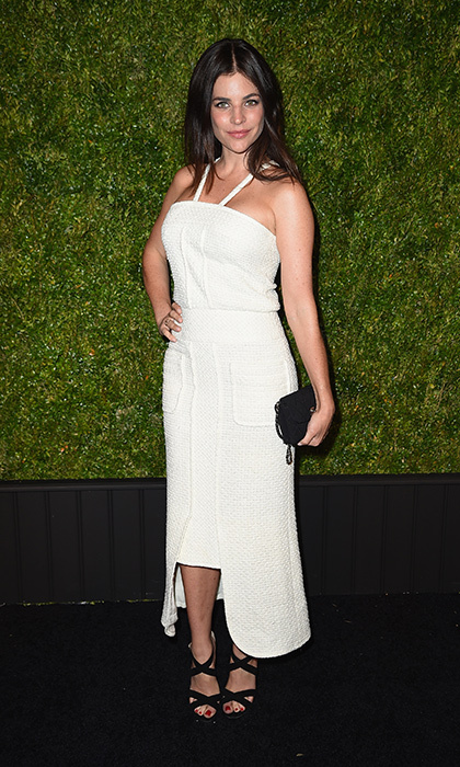 Julia Restoin Roitfeld is garden-party ready in a Chanel cocktail dress at the Chanel Tribeca Film Festival Artists Dinner in New York.