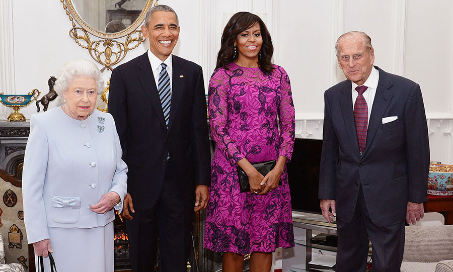 The Queen, Prince Philip and Barack and Michelle Obama pose together in the Oak Room.