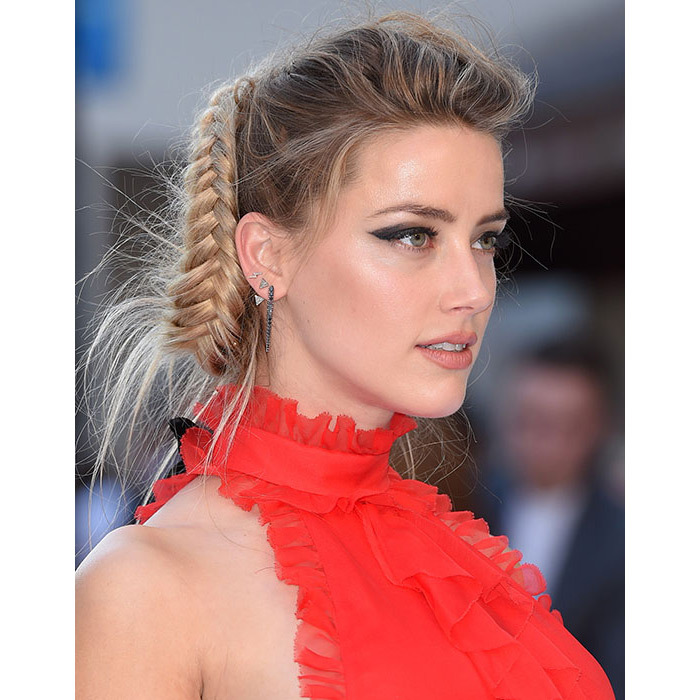 Amber took the braid trend to the next level with this impressive ponytail style, paired with showstopping smokey eyeshadow and bold winged eyeliner for ultimate wow factor.
