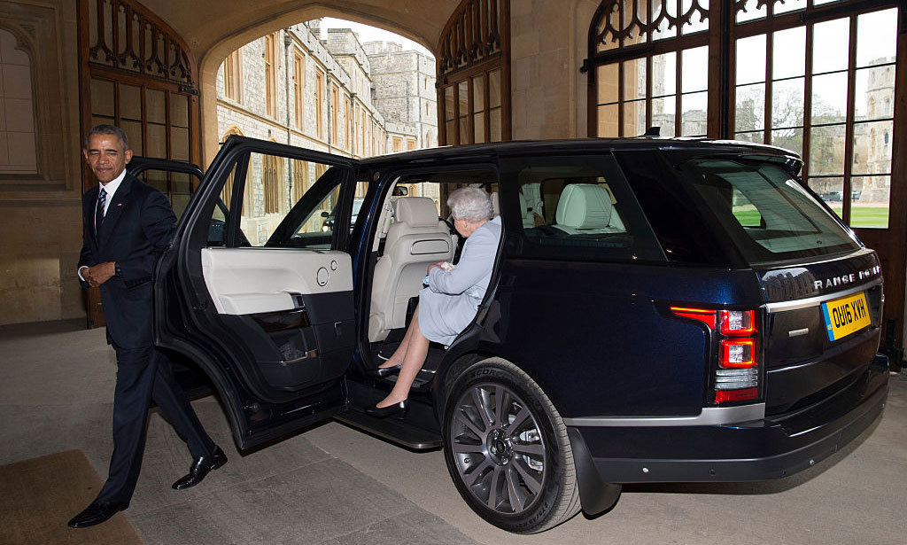 The Queen sat in the back seat of the Range Rover with Mrs. Obama as they all made their way back to her countryside home.