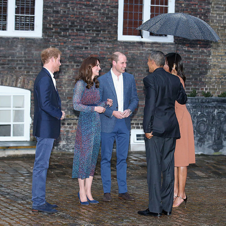 The London rain couldn't keep the young royals from sharing a laugh with their American guests.