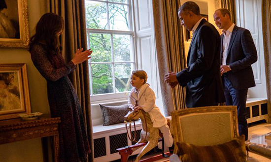 Prince George got a round of applause from POTUS, mom Kate and dad Prince William as he rode his rocking horse.