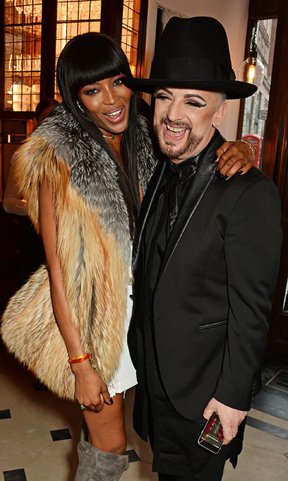 Guest of honour Naomi Campbell had a laugh with Boy George at the release party for her new $2,500 TASCHEN book, <em>Naomi Campbell</em>, at the Burberry restaurant Thomas's in London.