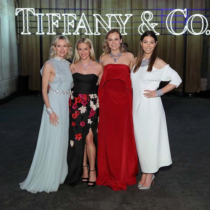 Girls' night out! Naomi Watts, Reese Witherspoon, Diane Kruger and Jessica Biel were dripping in glamour - and diamonds! - as they celebrated Tiffany & Co at the Blue Book Gala in New York.