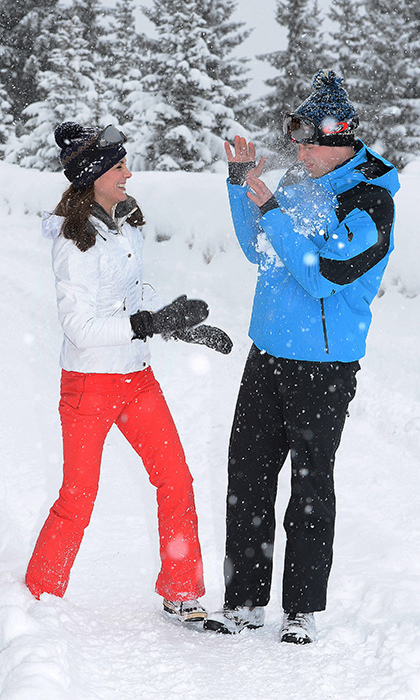 <p>The lovebirds showed off their playful sides during an official photoshoot in March 2016. Kate giggled as she successfully hit William in the chest with a snowball, while another picture showed the Prince attempting to prise a snowball from his wife's hand.