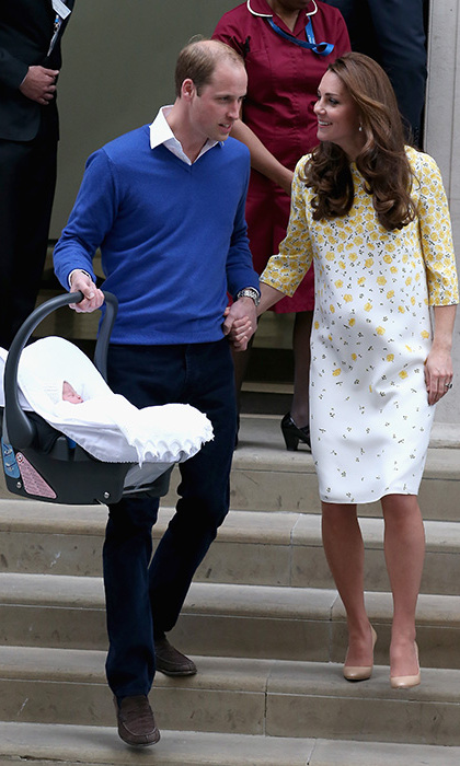 <p>As they left St Mary's hospital in Paddington in May 2015, William showed his gentlemanly side and helped his wife down the steps. Kate had given birth just ten hours earlier to the couple's baby girl, Princess Charlotte, who was fast asleep and swaddled in a white blanket.