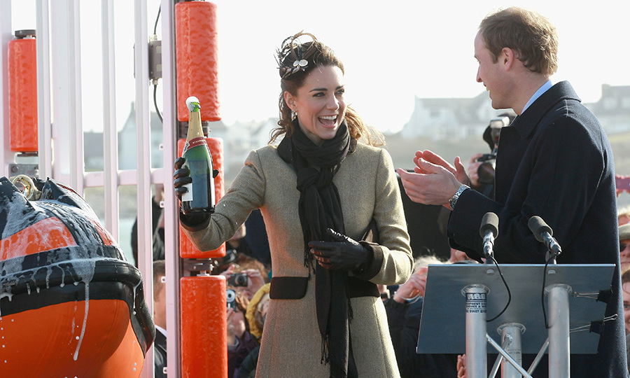 <p>With two months to go before the wedding, William and Kate had a lot to smile about. The bride-to-be had the honour of launching the new Hereford Endeavour lifeboat at Anglesey, the first home they shared as an engaged and married couple.</p>