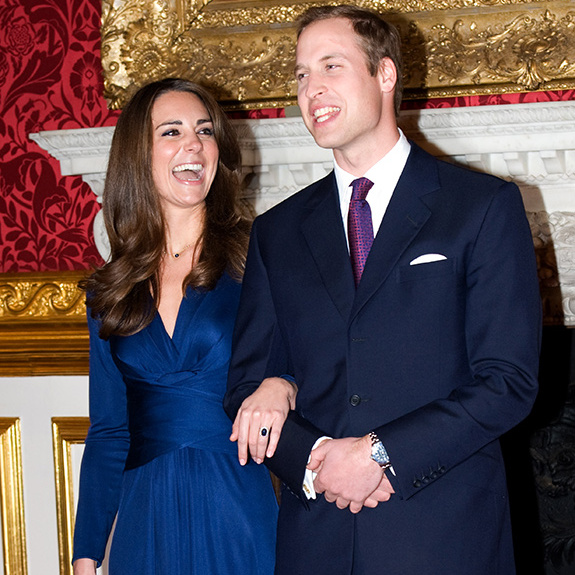 <p>Shortly after it was announced, William and Kate made their first appearance as a soon-to-be-married couple. Their official photocall at St James's Palace was the first time the public caught a glimpse of Kate's sparkler, a gorgeous 18 carat blue sapphire ring that belonged to Princess Diana.