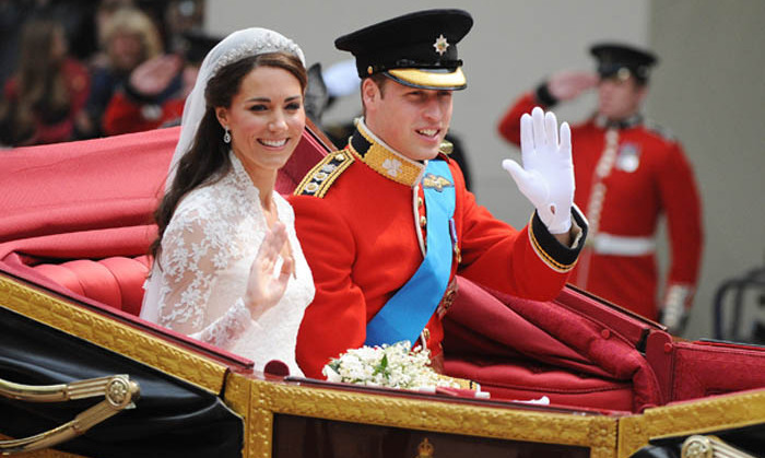 <p>Naturally the couple were over the moon as they greeted well-wishers from their carriage after the royal wedding in 2011. Kate was the blushing bride in a lace gown designed by Sarah Burton, while William was her dapper Prince Charming.