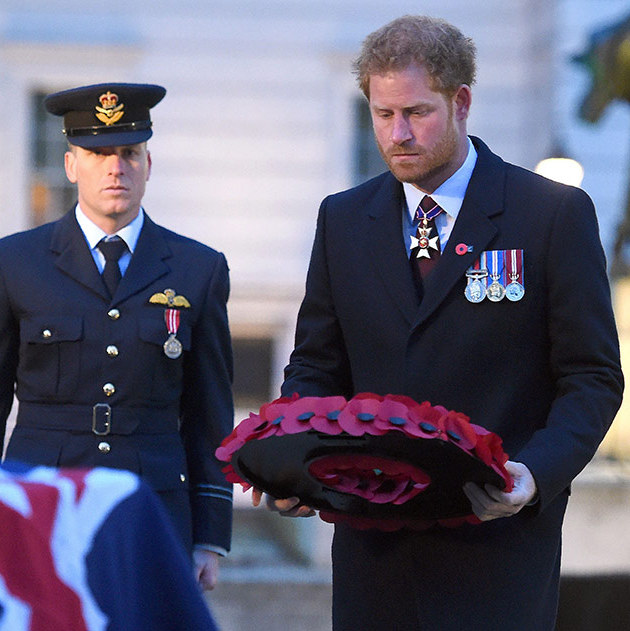 Prince Harry laid a wreath at Wellington Arch to commemorate ANZAC Day.