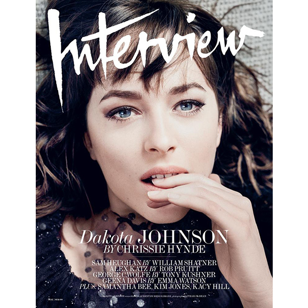 <i>Fifty Shades of Grey</i> star Dakota Johnson strikes an unrecognizable pose on the May 2016 issue of <i>Interview</i>.