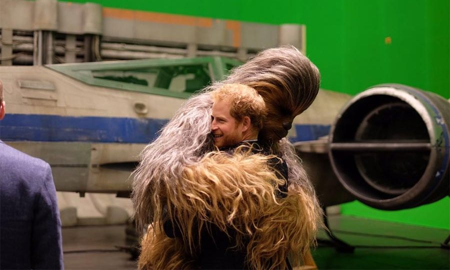 Prince Harry had very harry encounter during a visit to the set of <i>Star Wars</i> in Apr. 2016. The handsome royal received a warm welcome from the film's resident wookiee, Chewbacca. 