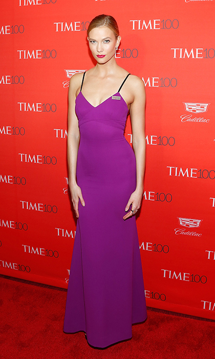 At the Time 100 gala in New York, <strong>Karlie Kloss</strong> paid tribute to Prince in this purple creation by Victoria.