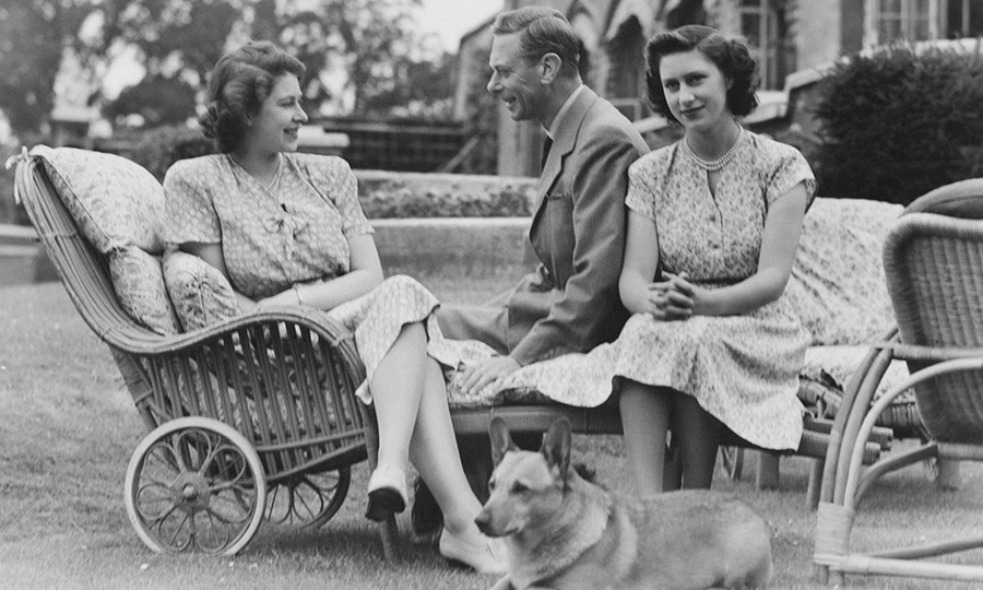 Princess Margaret with her sister the Queen and King George VI in 1946.