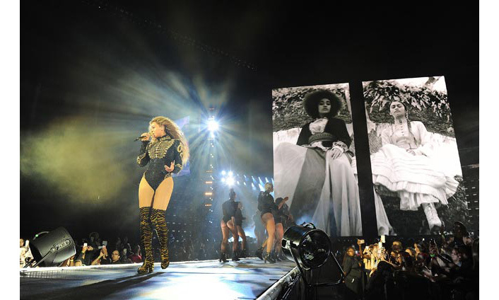 <p>The <em>Lemonade</em> singer rounded off the evening with a black, military style bodysuit.</p>Photo: © Rex
