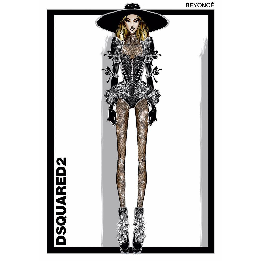 "<p>A sketch of Beyonce's opening look from Canadian-raised designers DSquared2, who said she ""slayed the crowd"" with her performance of ""Formation."" The wide-brimmed hat and Victorian accents call to mind the singer's wardrobe in the song's music video. </p>Photo: © Instagram.com/dsquared2"