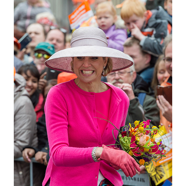 With her trusty hat on display, Maxima looked pretty in pink at 2016's King's Day celebration in the Netherlands.  