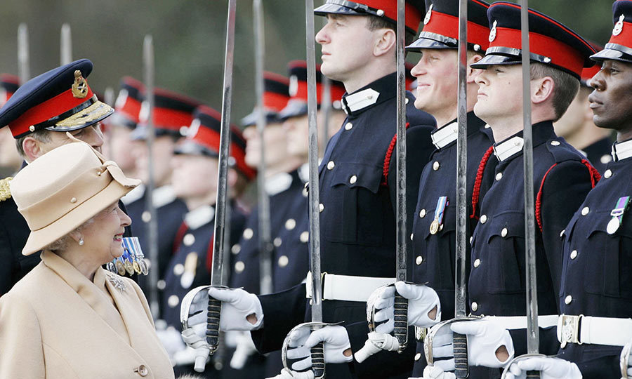 "<a href=""/tags/0/prince-harry/"">Prince Harry</a> couldn't help but grin as the Queen inspected soldiers at their passing-out Sovereign's Parade at Sandhurst Military Academy. The wonderful moment between grandmother and grandson was caught on camera as Her Majesty smiled at Prince Harry while he stared ahead and tried to remain composed, though he was clearly unable to keep a straight face. ""Now this is a face I recognise,"" the Queen famously said.<br>The Prince has a great relationship with his grandmother, and recently treated her to a <a href=""http://ca.hellomagazine.com/royalty/02016042525837/prince-harry-queen-hilarious-birthday-gift/"">special birthday gift to celebrate her 90th</a>. During the dinner held in the Queen's honour, ventriloquist Nina Conti performed and had Harry act as her dummy.<br>A source told HELLO!: ""It was genuinely brilliant. He must have been practising it because he had to do the actions in time with her speaking. It was intensely funny because he was so good.""<br>Photo: © Getty Images"