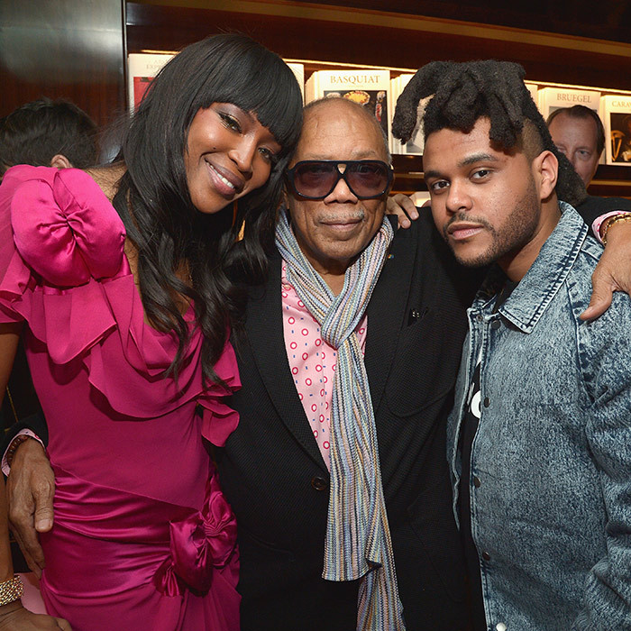 Toronto's The Weeknd and legendary music producer Quincy Jones turned out to support supermodel Naomi Campbell at the launch of her new book <i>Naomi</i>. 