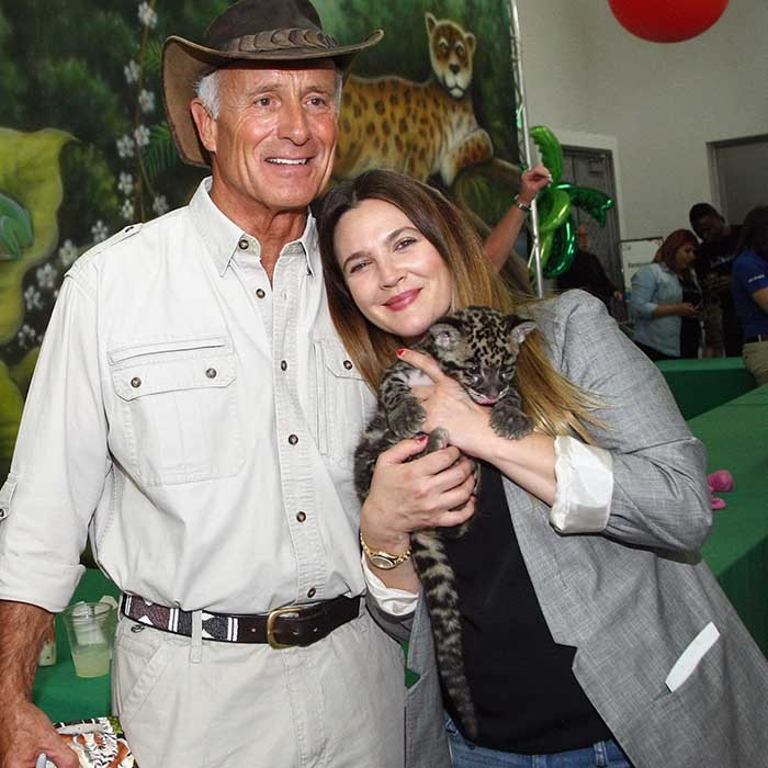 Animal expert Jack Hanna and Drew Barrymore pawed around with some furry creatures at a Safe Kids Day event in California. 