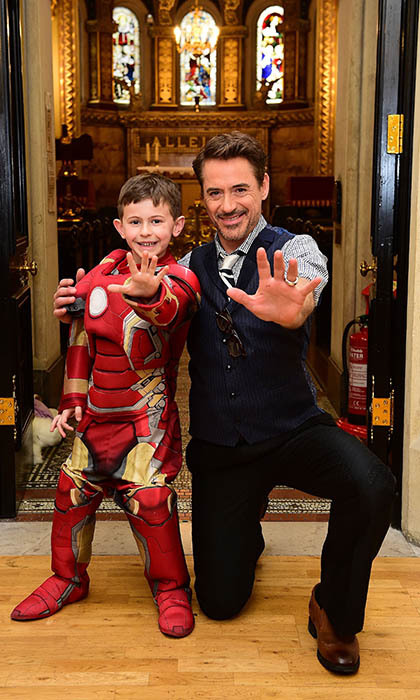 <i>Iron Man</i> star Robert Downey Jr. shared some of his superhero strength with patients at the Great Ormond Street Hospital in London, including seven-year-old Ethan Miller. 