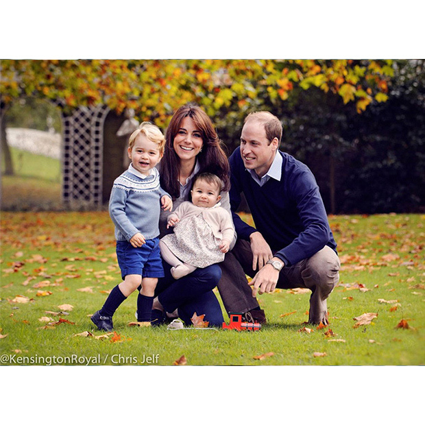 This image was taken in late October in the grounds of Kensington Palace, by photographer Chris Jelf. The Duke and Duchess released it on Dec. 18 2015 as an early Christmas present to their supporters. Prince William keeps an eye on playful George, while Kate balances Charlotte on her knee.