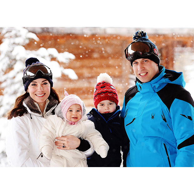 The family enjoy a short private ski trip in March 2016. Princess Charlotte and Prince George look adorable in their matching bobble hats!