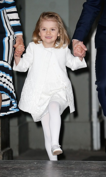 April 2015: Dressed head-to-toe in white, Princess Estelle skipped her away into birthday celebrations for her grandfather, King Carl Gustaf. 